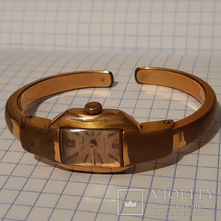 Женские часы с браслетом Слава, позолоченные Au