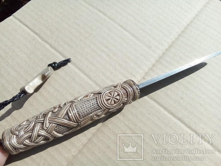 Ніж з дамаска з костяною ручкою.,,Молот Тора,,, фото №3