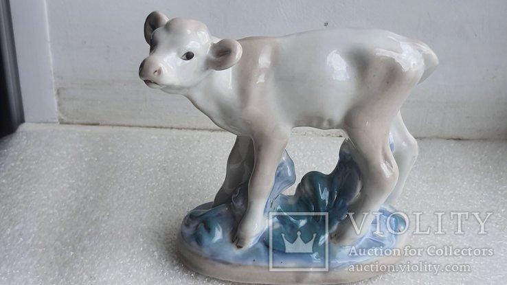 Статуэтка телёнок Старая Гжель, фото №2