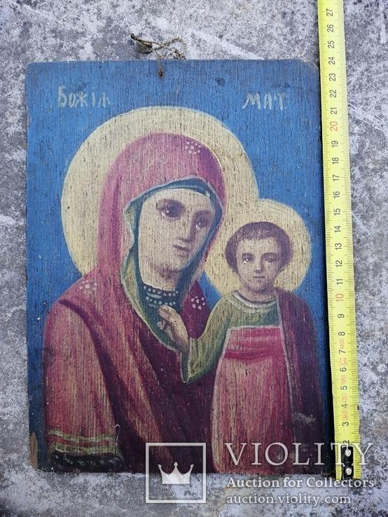 Казанская икона Богородицы. Народного письма 19-20 век., фото №4