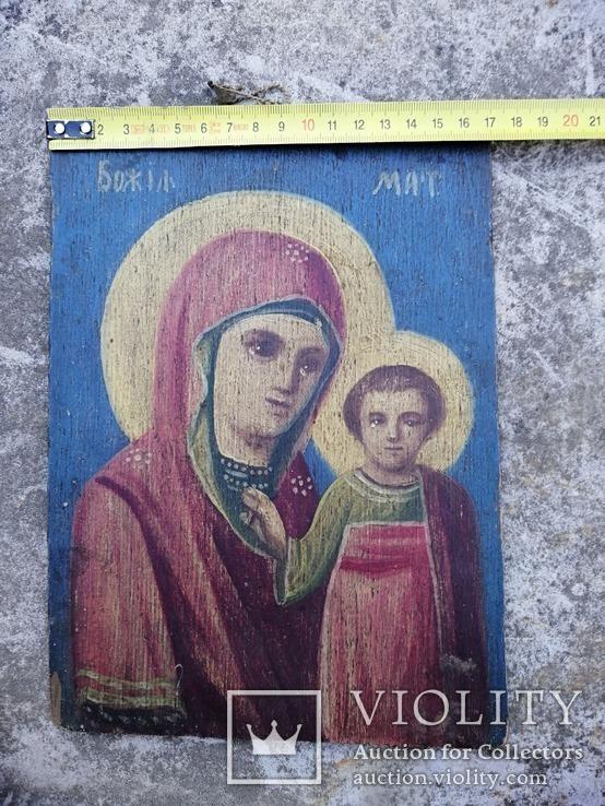 Казанская икона Богородицы. Народного письма 19-20 век., фото №5