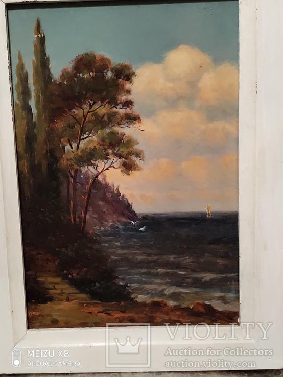 Картина в раме морской пейзаж,картон масло худКалашников, фото №3