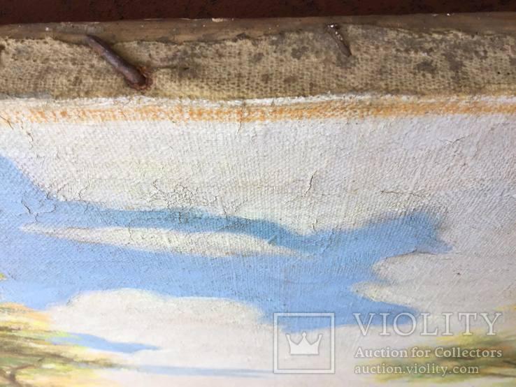 Старая, большая картина холст, масло, 100 х 69 см., фото №4