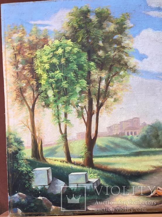Старая, большая картина холст, масло, 100 х 69 см., фото №8