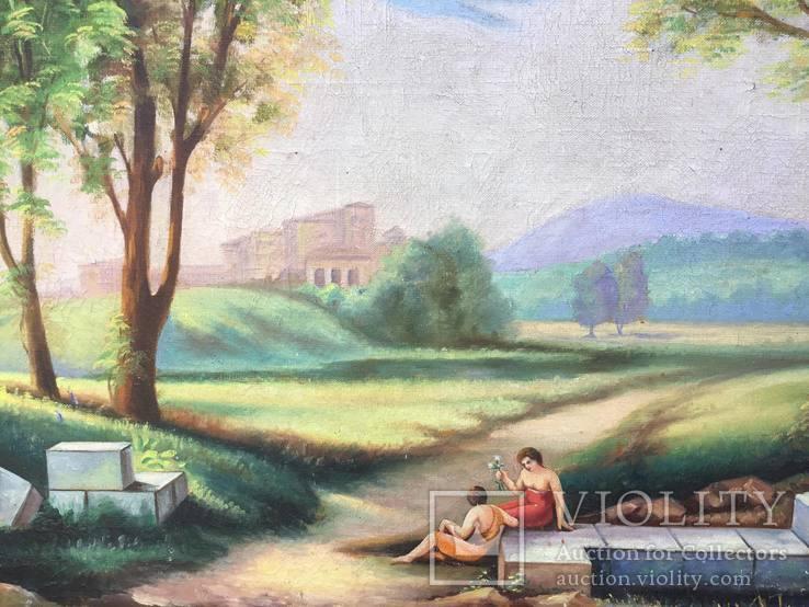 Старая, большая картина холст, масло, 100 х 69 см., фото №12