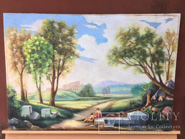 Старая, большая картина холст, масло, 100 х 69 см., фото №3