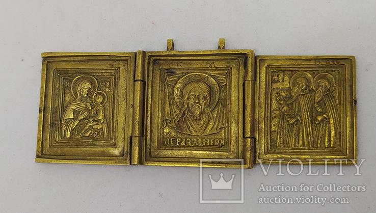 Складень: Богородица Тихвинская, Спас нерукотворный, Сергий и Варлаам.