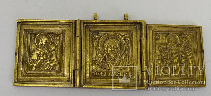 Складень: Богородица Тихвинская, Спас нерукотворный, Сергий и Варлаам., фото №3