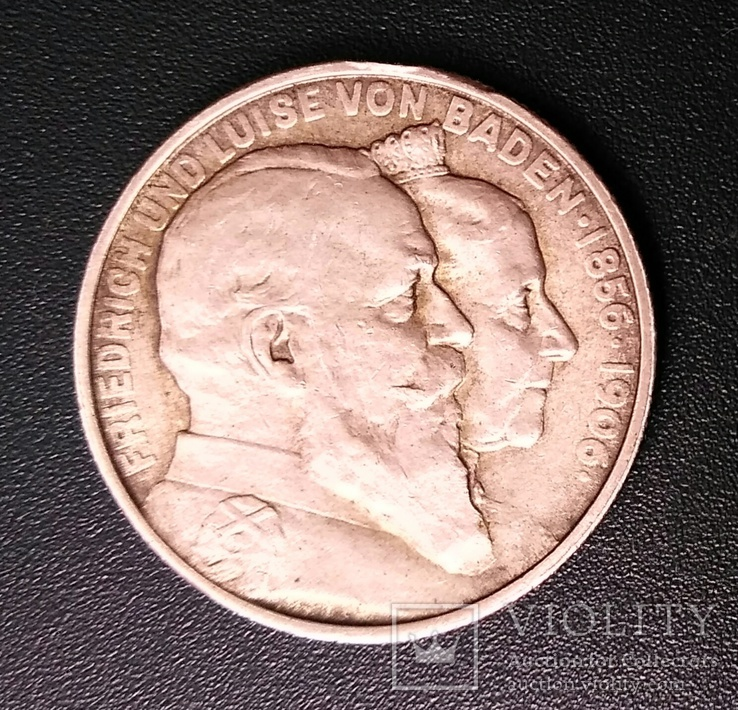 2 марки 1906 р. Баден. Золоте весілля, фото №3