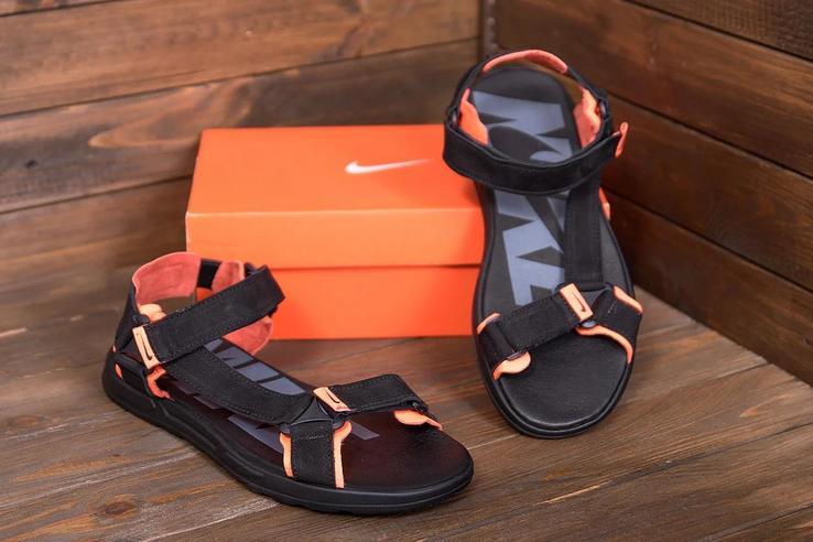 Мужские кожаные сандалии N-5 ч\оранж санд