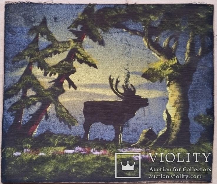 Картина, тканина, картон, акварель,  22х25,5 см, фото №2