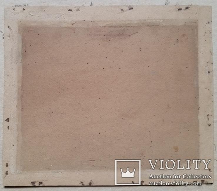 Картина, тканина, картон, акварель,  22х25,5 см, фото №6