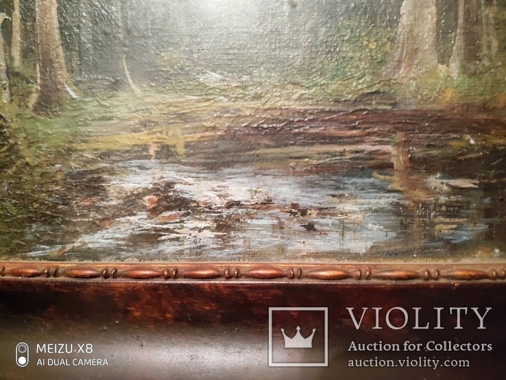 Старинная картина в деревянной раме,пейзаж, фото №3