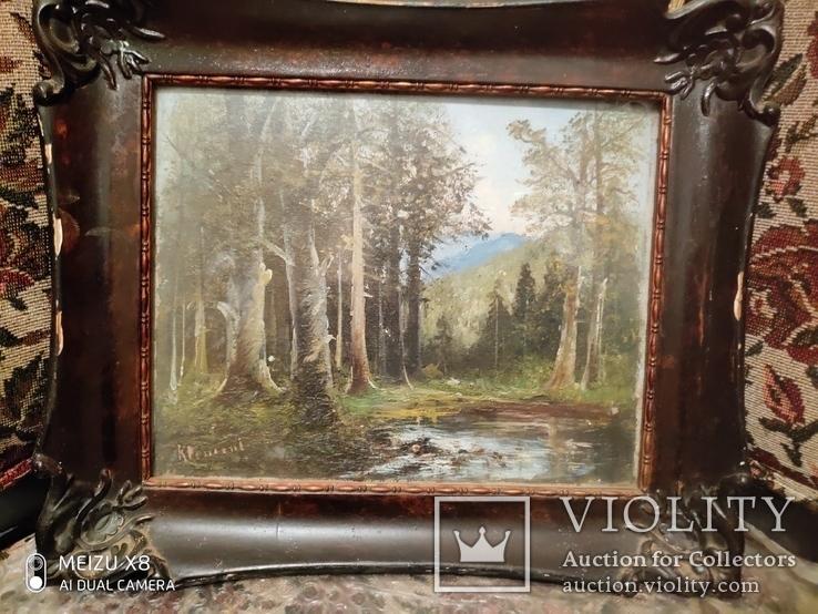 Старинная картина в деревянной раме,пейзаж, фото №7