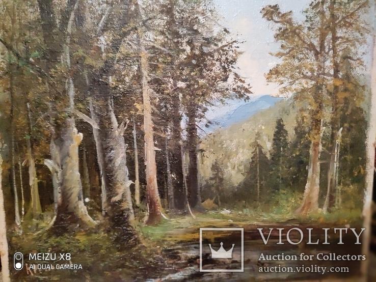 Старинная картина в деревянной раме,пейзаж, фото №8
