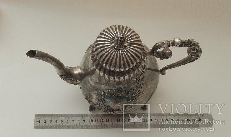 Чайник кофейник серебро 800 проба, Германия, 614г, фото №4