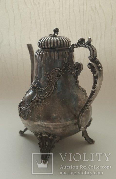 Чайник кофейник серебро 800 проба, Германия, 614г, фото №5