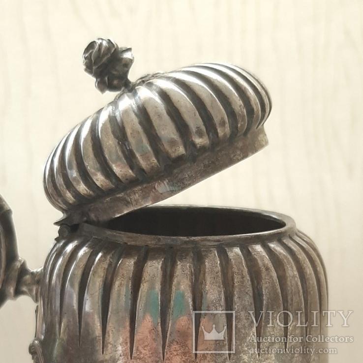 Чайник кофейник серебро 800 проба, Германия, 614г, фото №8