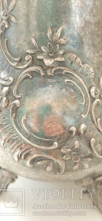 Чайник кофейник серебро 800 проба, Германия, 614г, фото №11