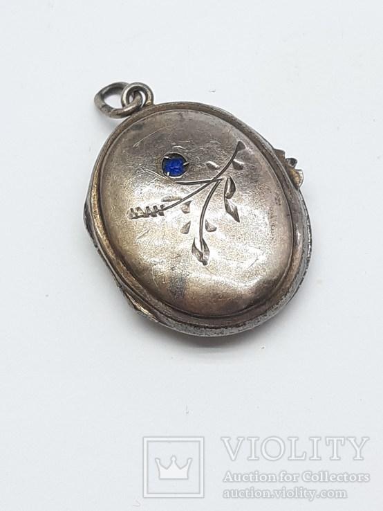 Старинный кулон-локет, подвеска, медальон для фото,штихель Серебро, 875 проба Голова, фото №2