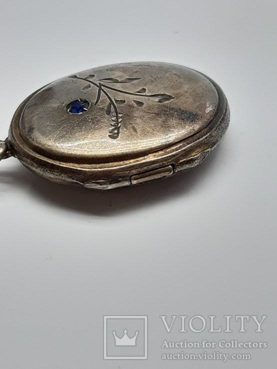 Старинный кулон-локет, подвеска, медальон для фото,штихель Серебро, 875 проба Голова, фото №4