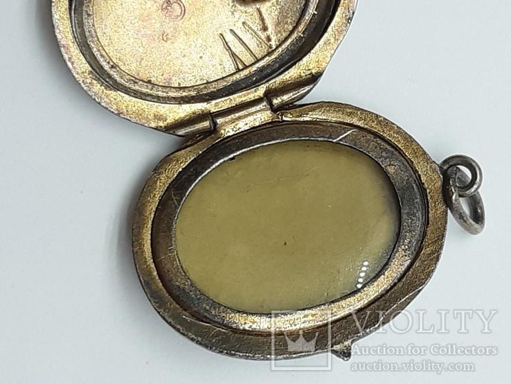 Старинный кулон-локет, подвеска, медальон для фото,штихель Серебро, 875 проба Голова, фото №9