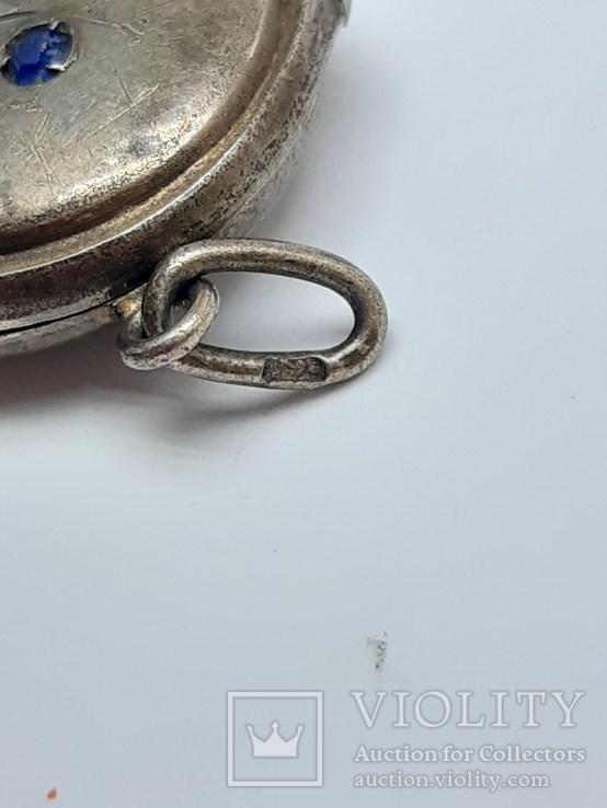 Старинный кулон-локет, подвеска, медальон для фото,штихель Серебро, 875 проба Голова, фото №11