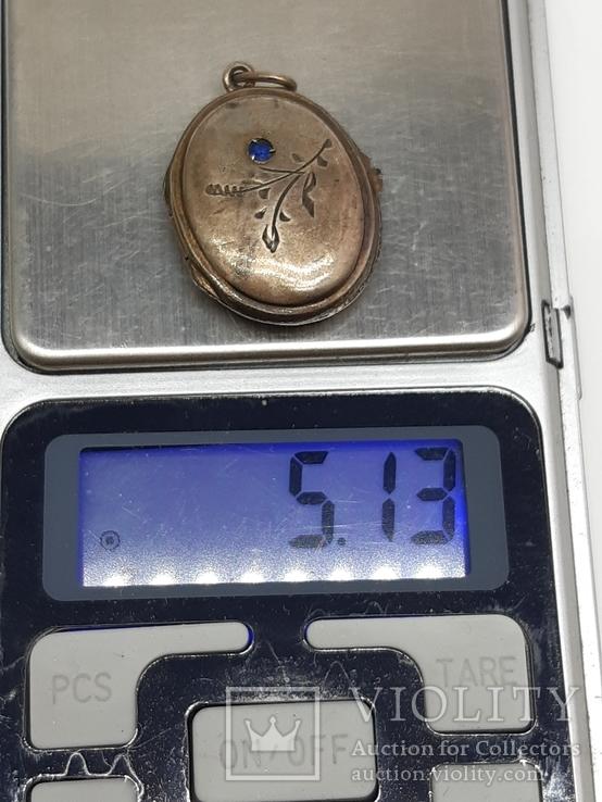 Старинный кулон-локет, подвеска, медальон для фото,штихель Серебро, 875 проба Голова, фото №12