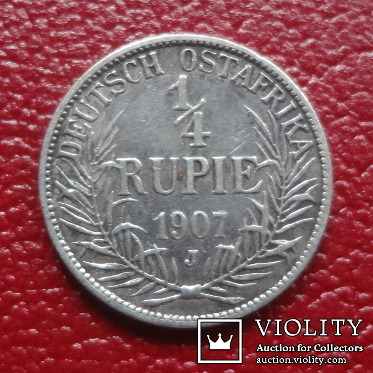 1/4 рупии  1907  J  Германская Африка  серебро   (3.11.6), фото №3