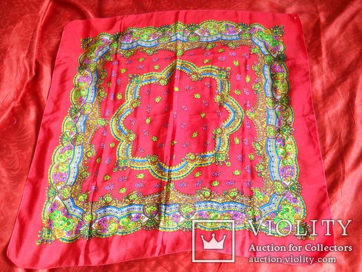 Платок красный летний, 85х85 см., СССР, не носился, фото №2