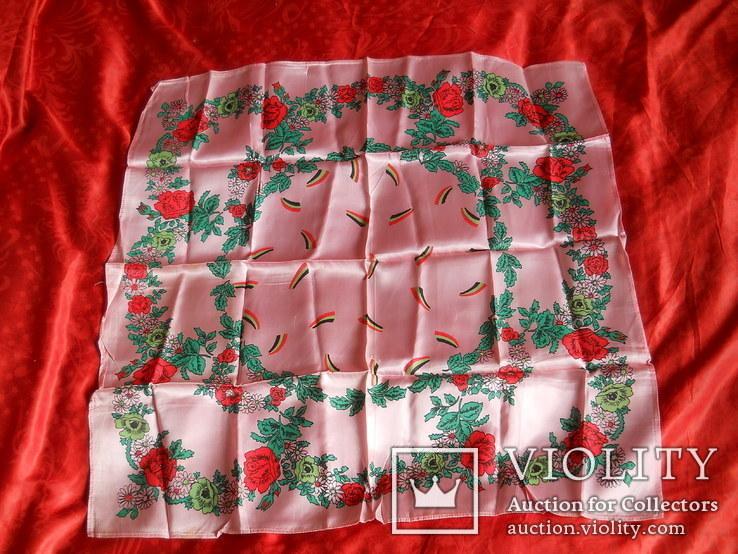 Платок розовый, 72х72 см., не носился СССР, фото №2