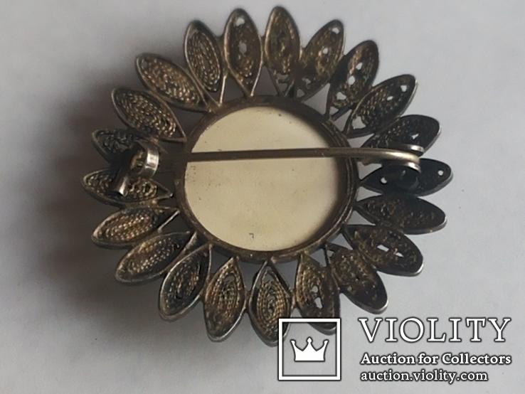 Брошь серебро клеймо 835 пр скань Голландия Дельфт, фото №4
