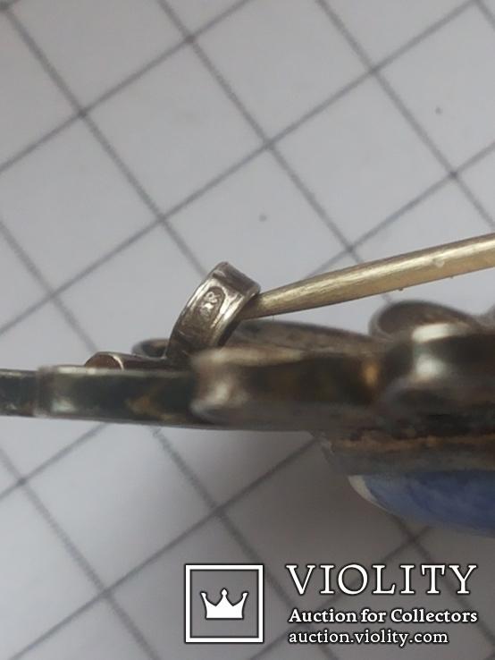 Брошь серебро клеймо 835 пр скань Голландия Дельфт, фото №12