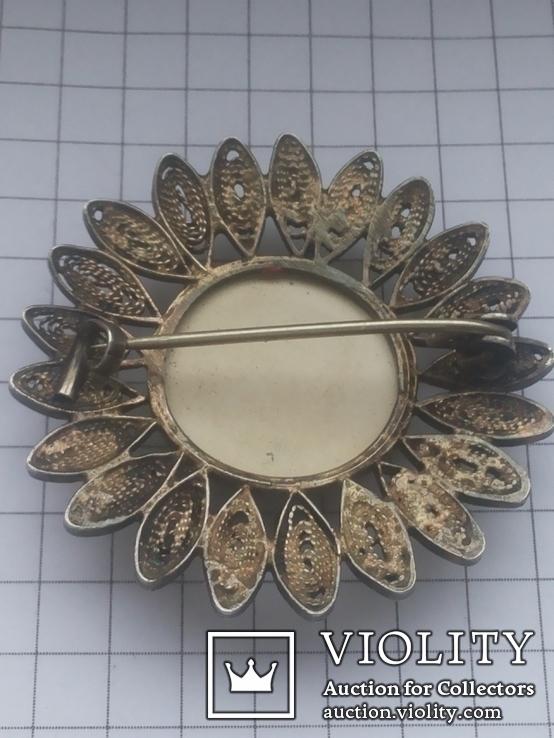Брошь серебро клеймо 835 пр скань Голландия Дельфт, фото №13