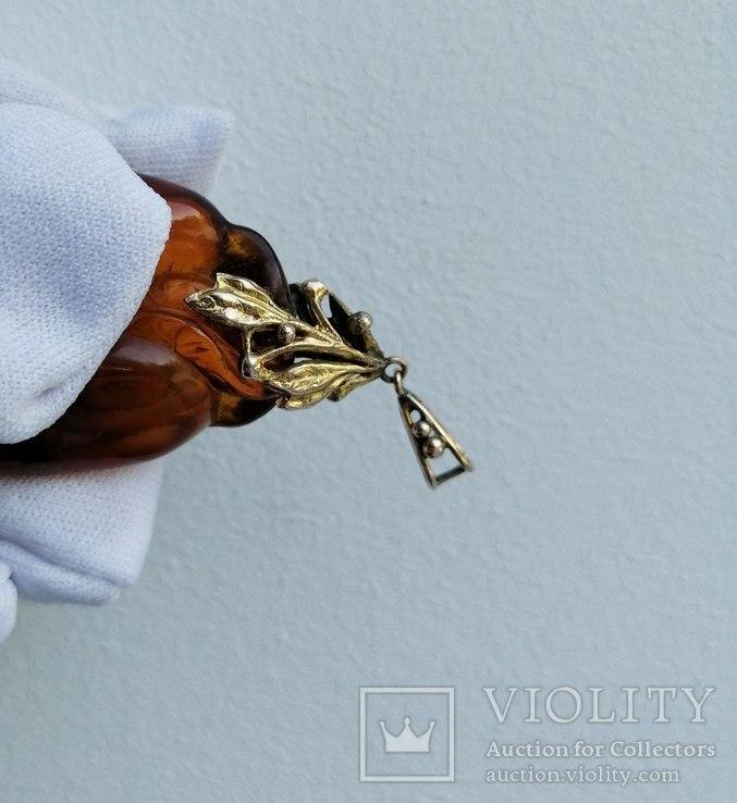 Бурштновий кулон ручної роботи з золотим кріпленням. Англія,19століття, фото №6