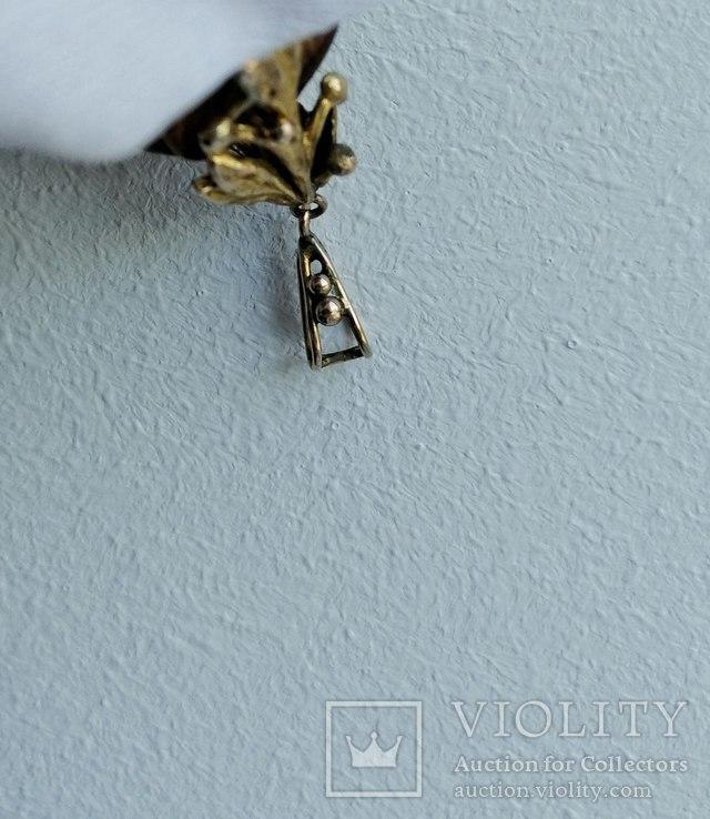 Бурштновий кулон ручної роботи з золотим кріпленням. Англія,19століття, фото №8