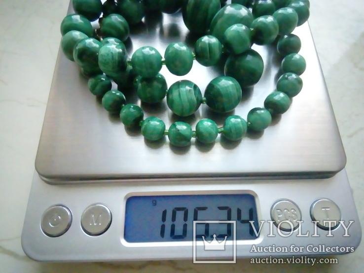 Нове намисто малахіт природний і срібло 60 см 105 г, фото №3