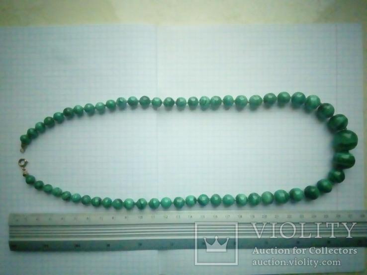Нове намисто малахіт природний і срібло 60 см 105 г, фото №13