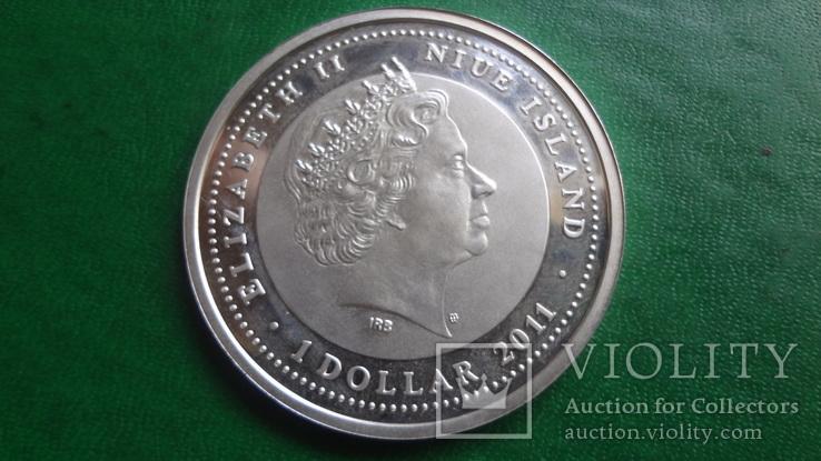 1  доллар 2011  Ниуэ год Дракона   серебро     (2.3.10)~, фото №6