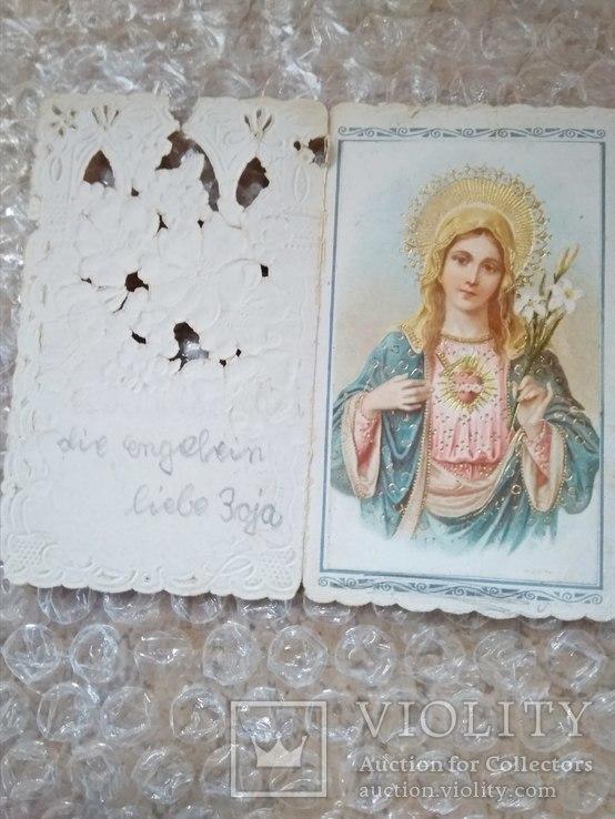 Миниатюрная раскладная открытка с изображением католической Девы Марии, фото №3