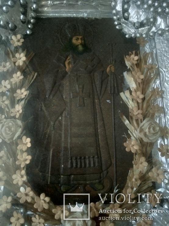 Икона в окладе св.Феодосий., фото №3