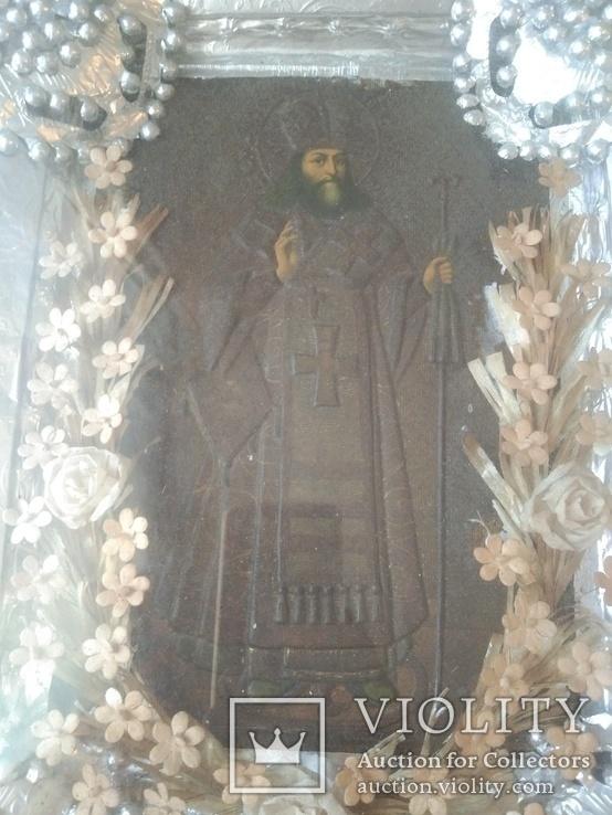 Икона в окладе св.Феодосий., фото №6