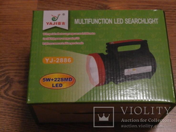 Аккумуляторный фонарь Yajia YJ-2886/5W+22SMD LED с функцией PowerBank для зарядки, фото №7
