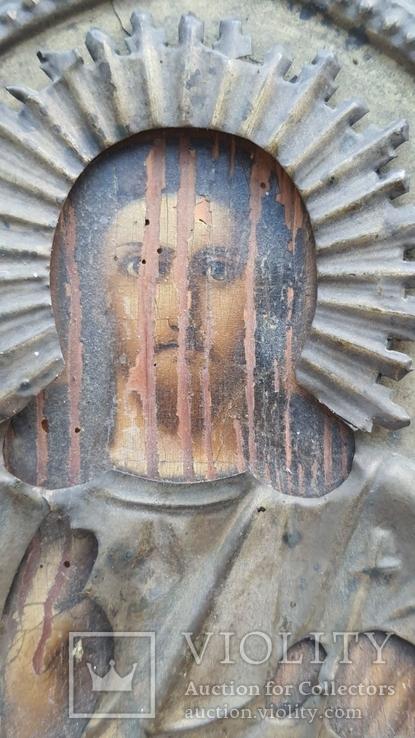 Икона Спаситель в окладе бронза, фото №4