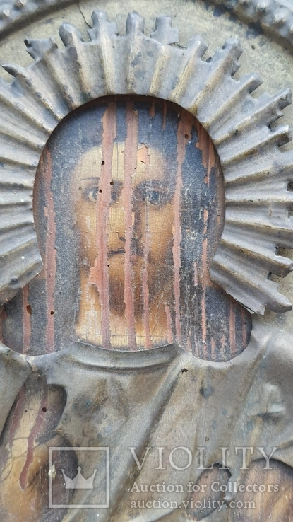 Икона Спаситель в окладе бронза, фото №5