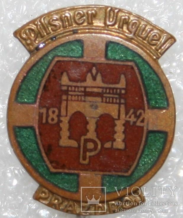 Значок-логотип пивоварни (Чехословакия) тяжелый, фото №2