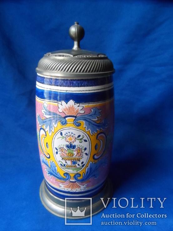 Коллекционная пивная кружка Керамика олово 1,1 L W - Germany, фото №2