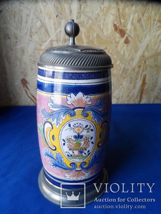 Коллекционная пивная кружка Керамика олово 1,1 L W - Germany, фото №3