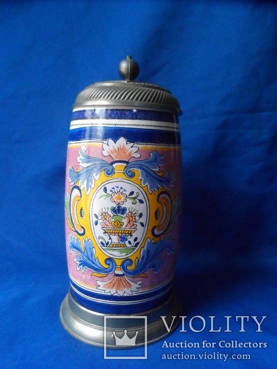 Коллекционная пивная кружка Керамика олово 1,1 L W - Germany, фото №13