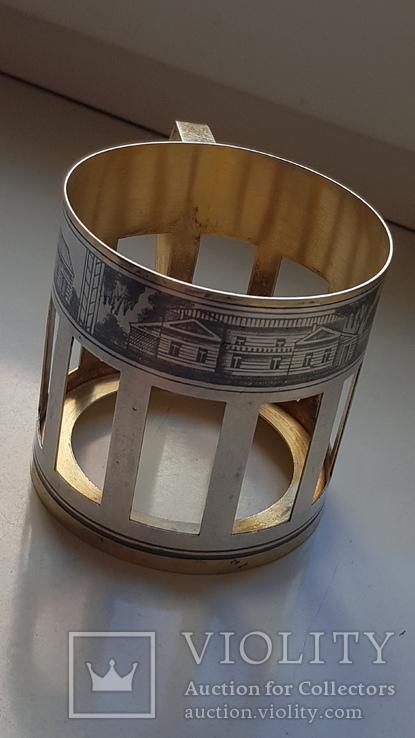 Подстаканник серебро СССР 875 проба. Чернь. Позолота. Вес 91 г., фото №5